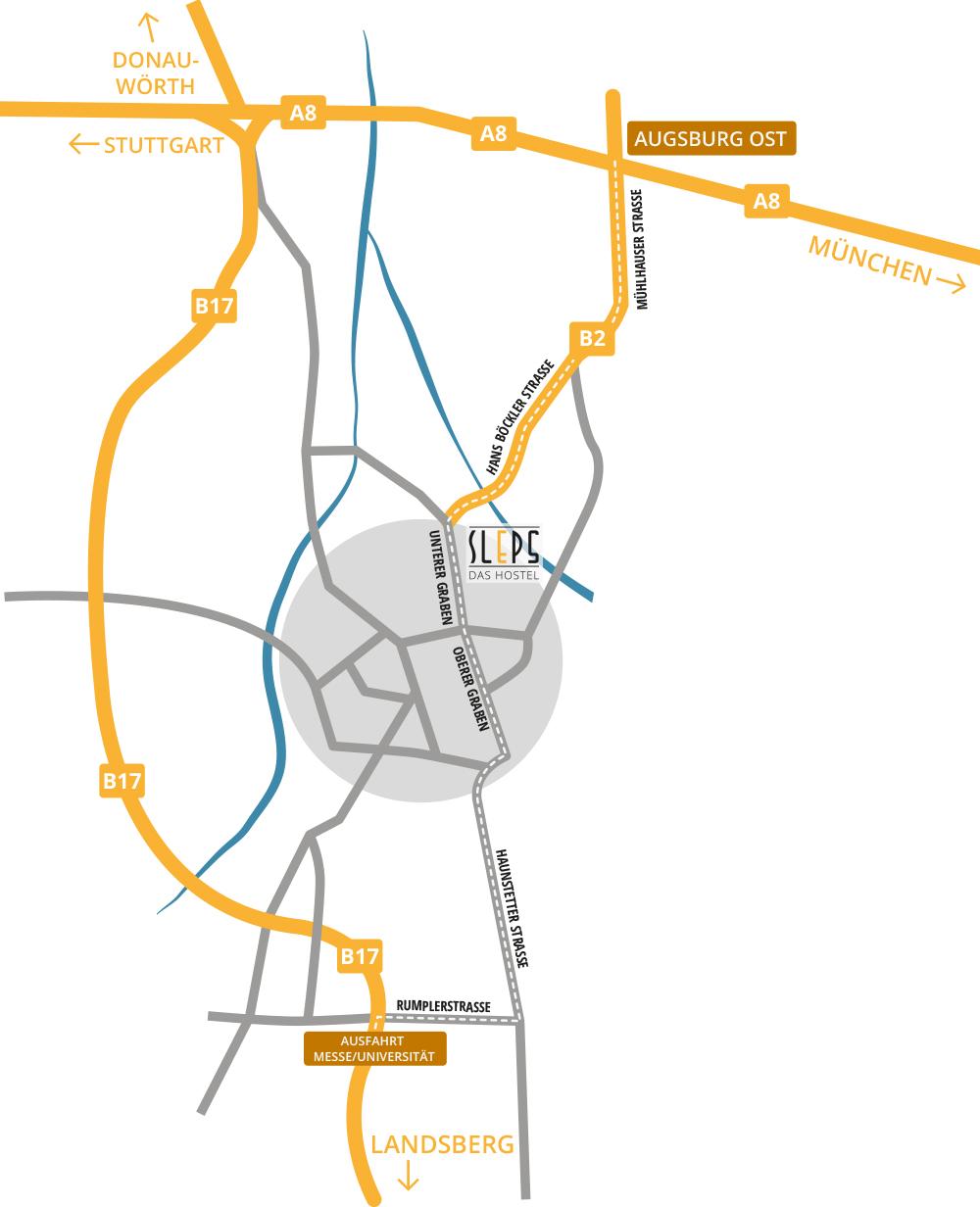 Romantische Straße Karte.Location Hostel Sleps Augsburg